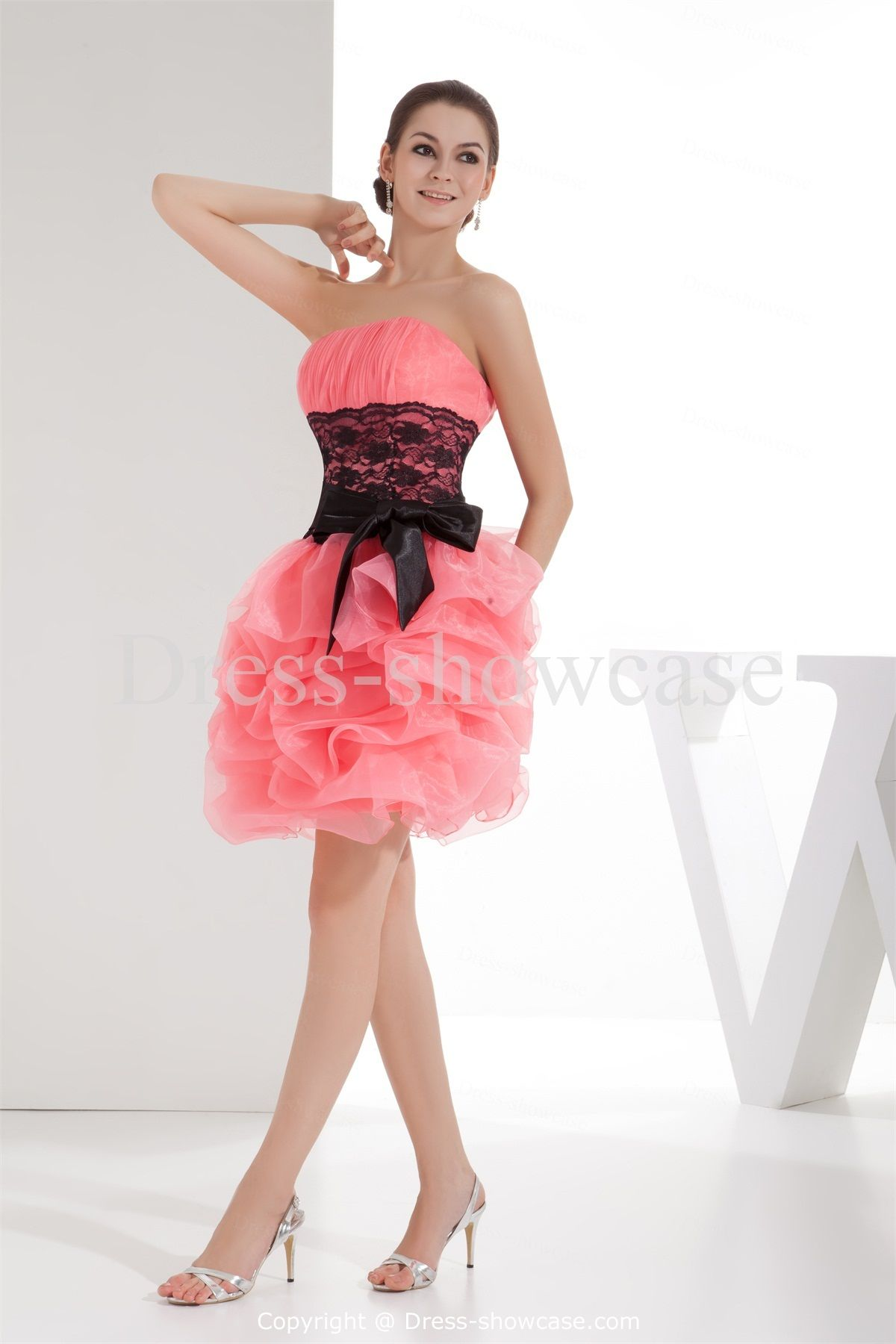 Lace Strapless Sleeveless Ball Gown Bridesmaid DressWholesale Price ...