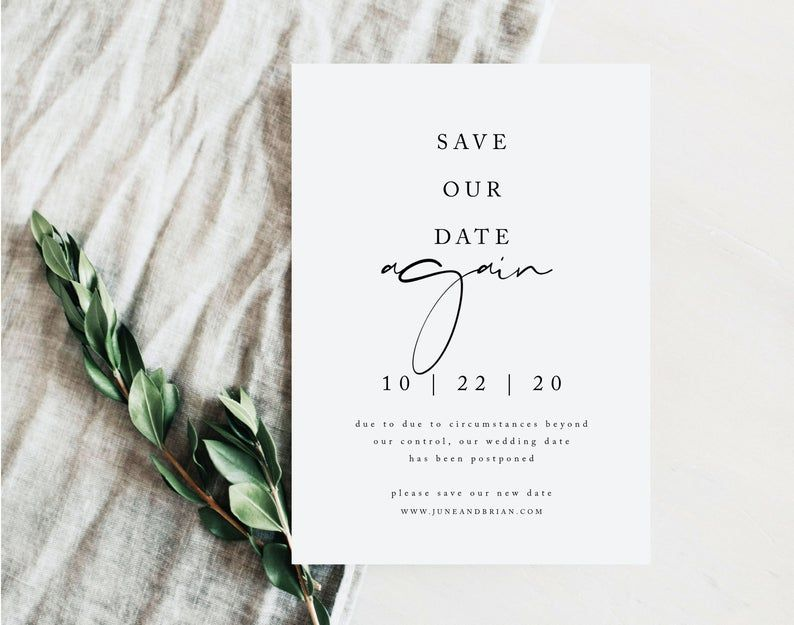 Editable Template Postponed Wedding Date Announcement Photo Change Of Plans Template Text Message Change The Date Digital Invite