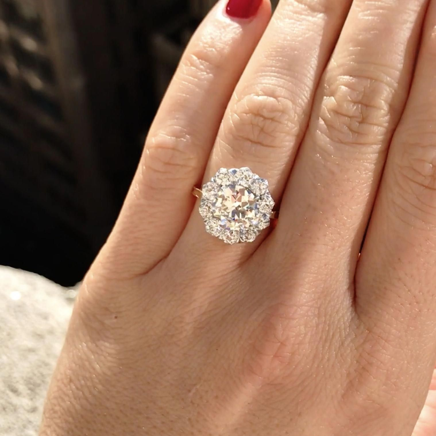 Large Diamond Cluster Engagement Ring The Catalina ring is
