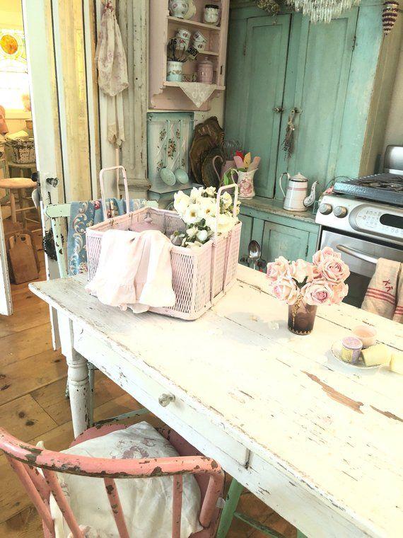 Photo of Items similar to Vintage basket holder chippy pink  shabby chic cottage prairie on Etsy