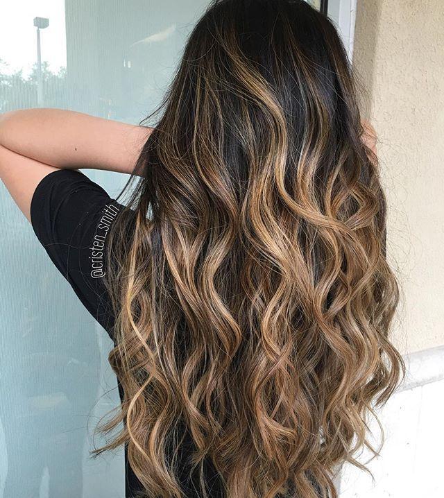 Balayage on wavy hair