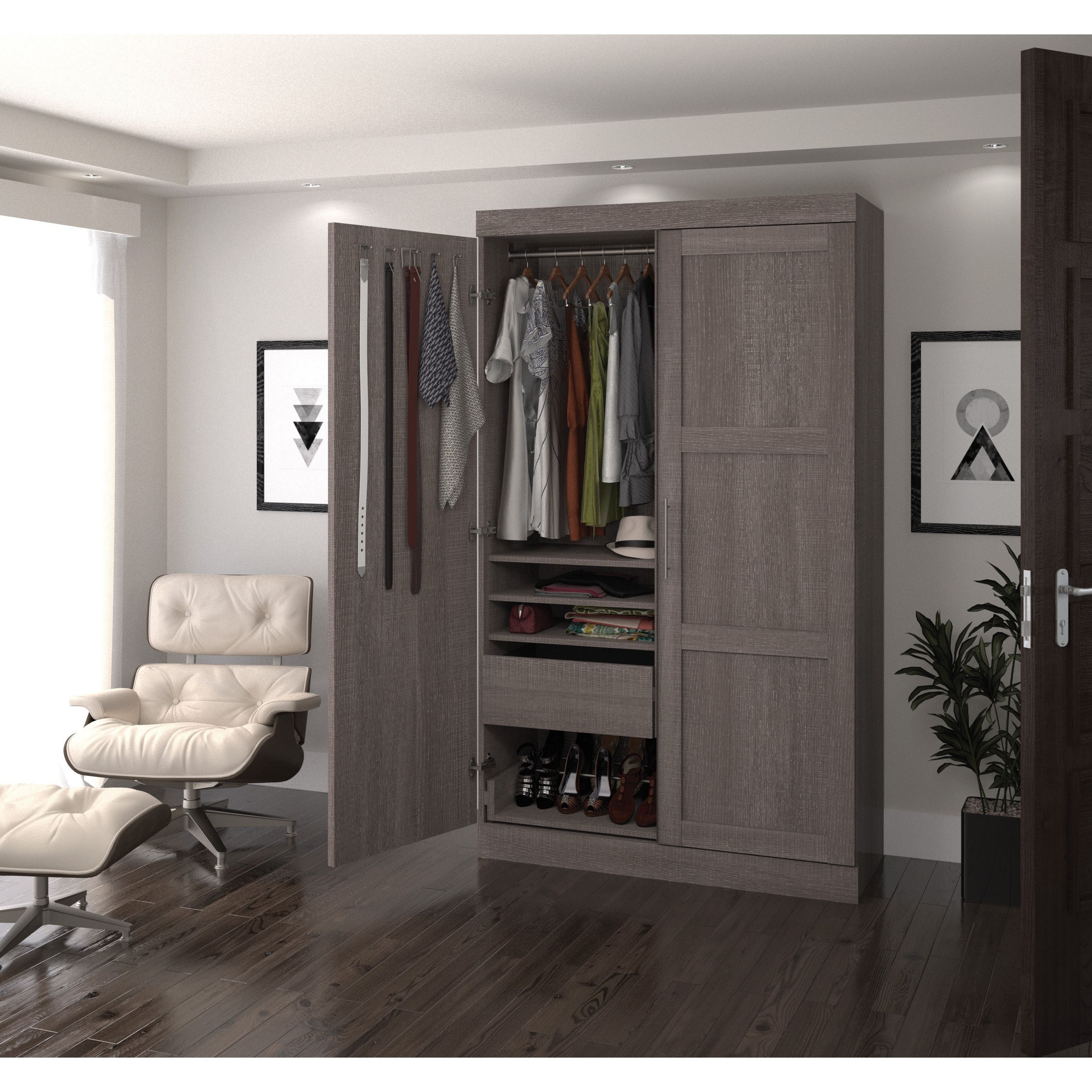 Pur By Bestar 2 Door Armoire With Pullout Shoe Rack Grey