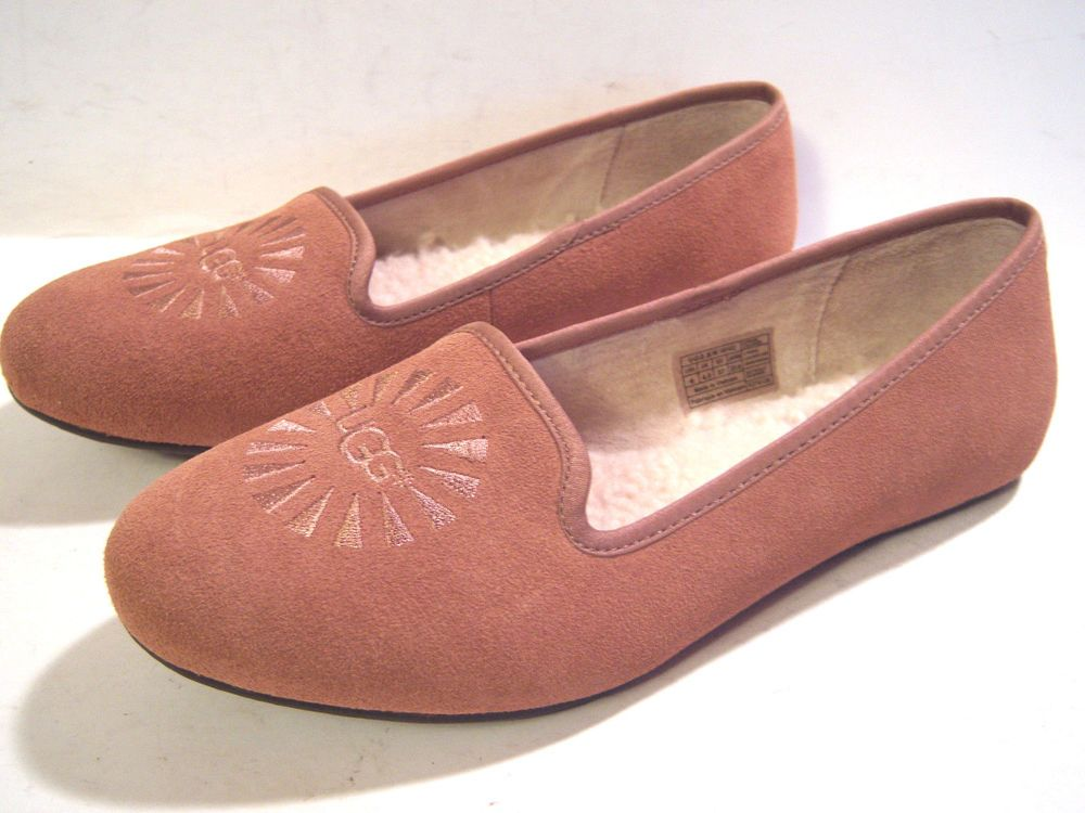 UGG Alloway Loafers Slip On Shoes Brown Suede Leather Sherpa Lined Women 6 NEW #UGGAustralia #LoafersMoccasins