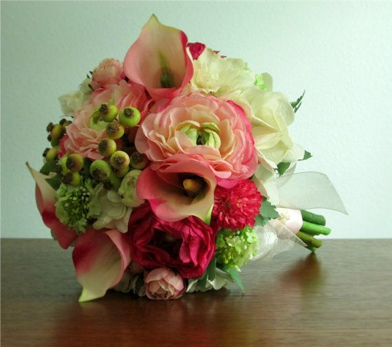 Magenta pink green and ivory silk flower bridal bouquet blushing bouquet and boutonniere pink ivory and lime green silk flowers including calla mightylinksfo Images