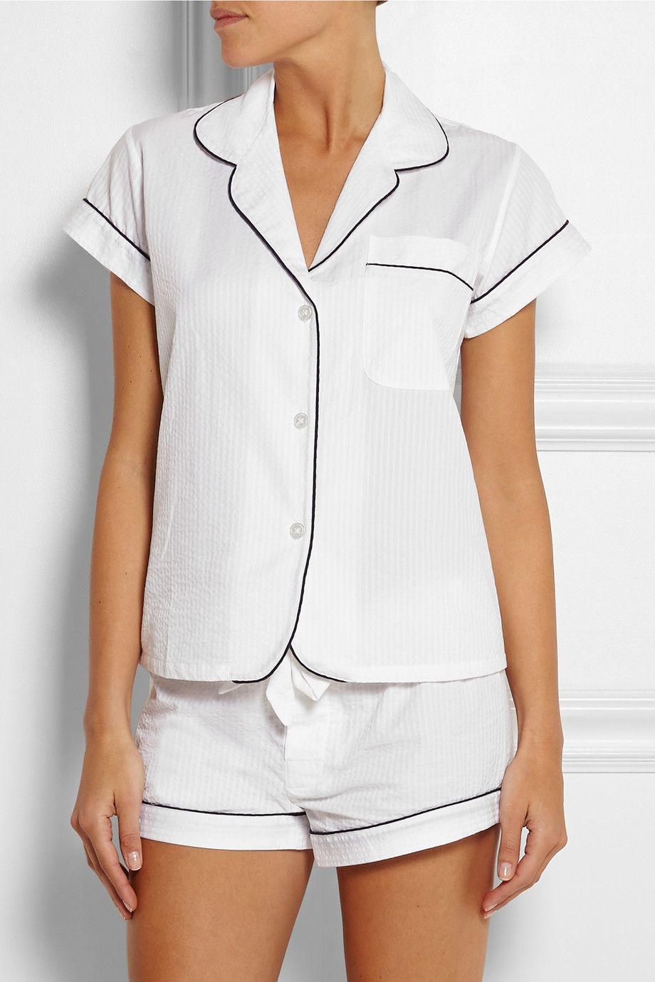 Bodas|Seersucker cotton pajama top|NET-A-PORTER.COM