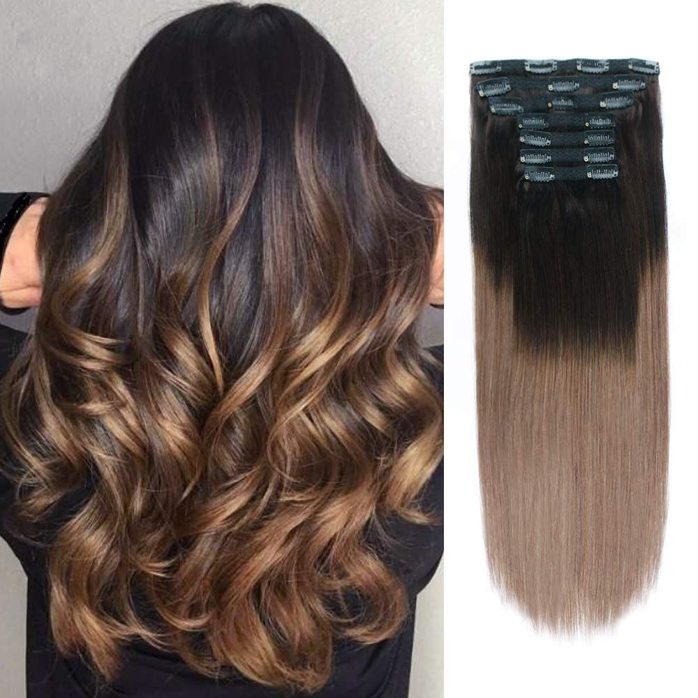 ombre human hair extensions, 20 inch clip in hair