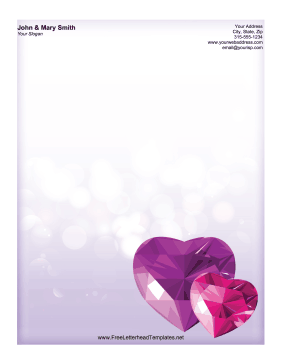 Purple and pink gems shaped like hearts add shine to this romantic