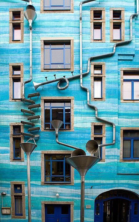 Trombone-shaped gutters turn rainfall into music