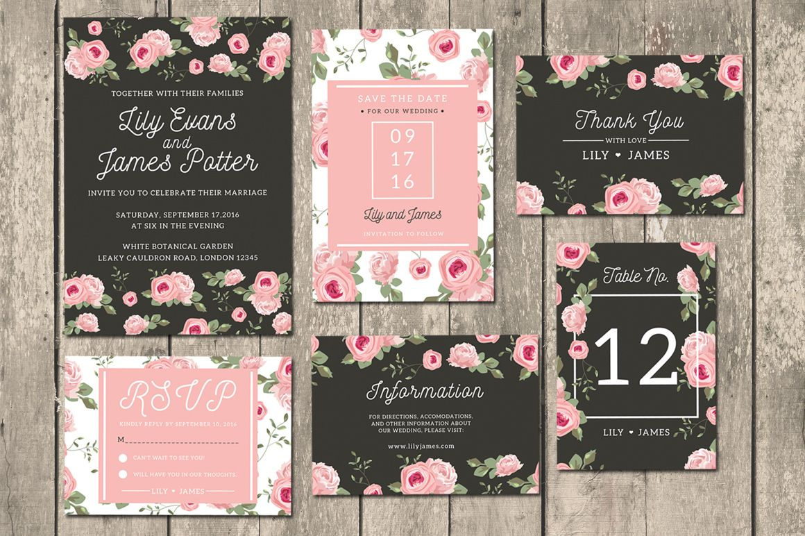 wildflower wedding invitation templates%0A Floral Wedding Invitation Suite by iamwulano available for        at  DesignBundles net