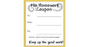 No Homework Coupon to print for Kids. Classroom Homework Pass | For ...