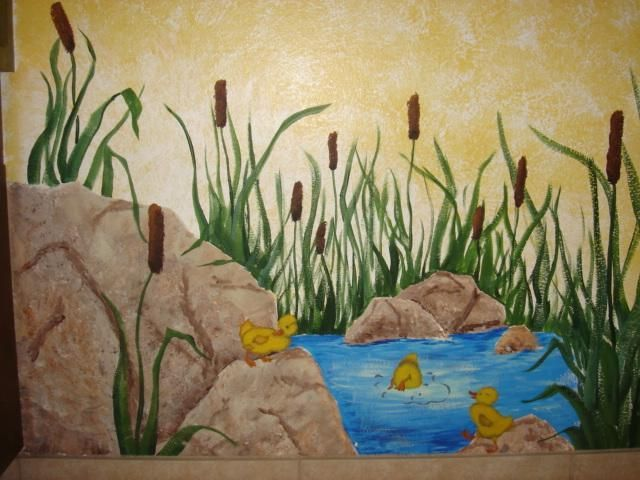 Painted wall mural ducks ducklings pond cattails bathroom for Duck pond mural