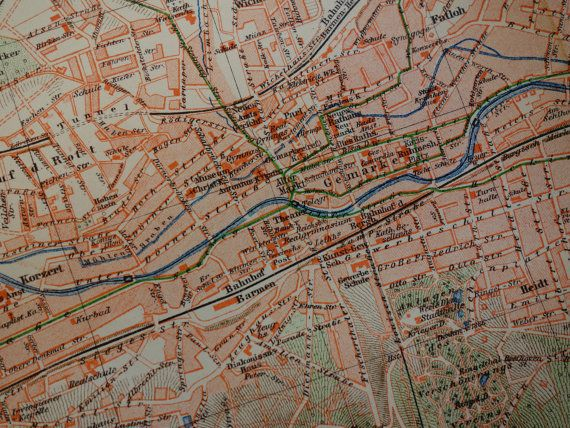 WUPPERTAL antique map 1905 original detailed old city plan of