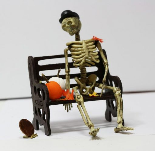 Dollhouse Miniature Aged Halloween Aged Skelton with Jointed Hip