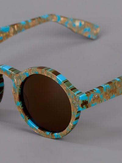 """Blue and gold-tone tortoiseshell """"Mizaru"""" sunglasses from ZanZan"""