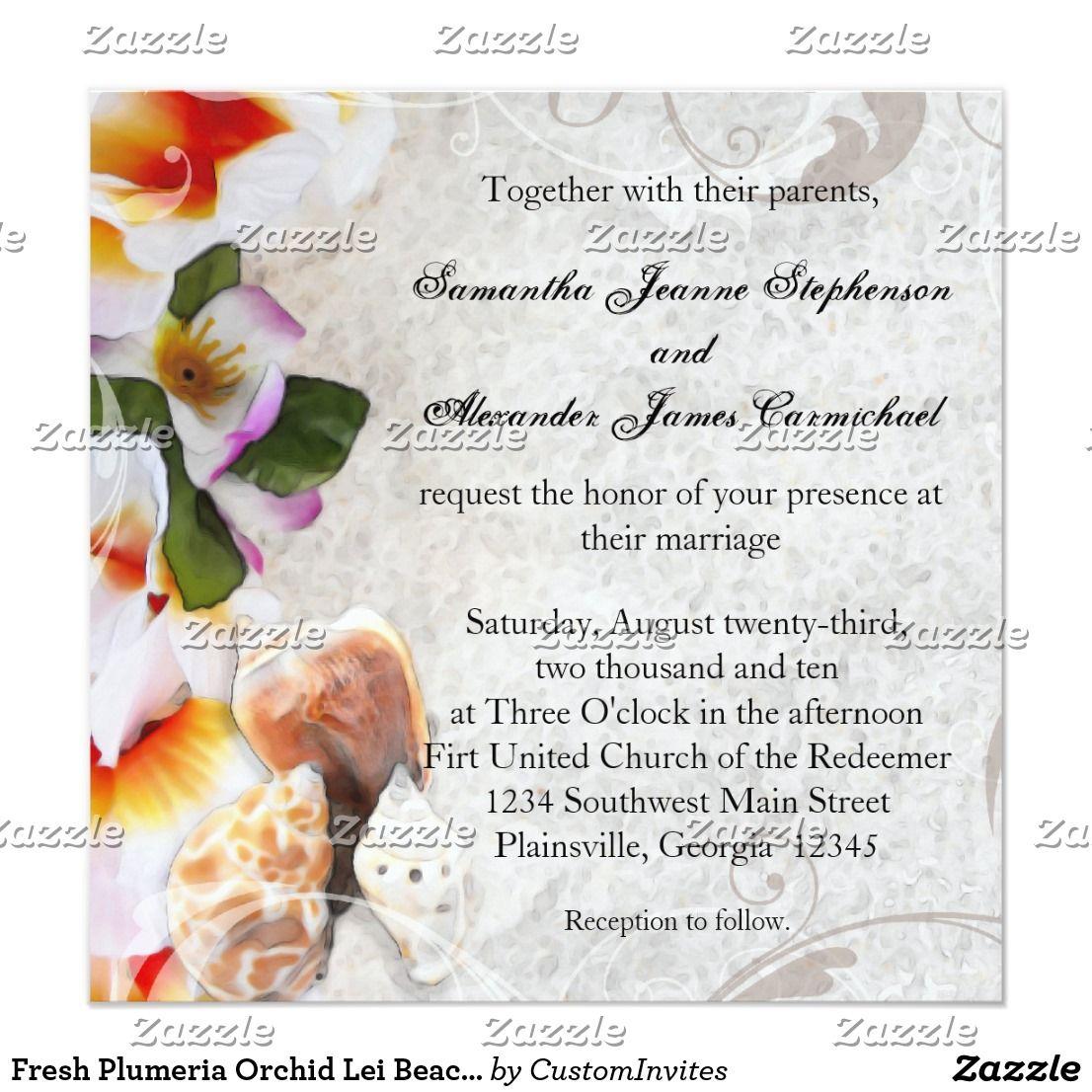 Fresh Plumeria Orchid Lei Beach Wedding Invitation | *Destination ...