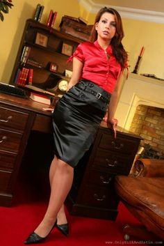1e28d7534a Black Satin Pencil Skirt Red Satin Blouse and Black High Heels ...