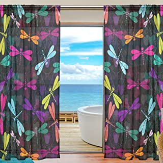 Amazon Com Embroidered Dragonfly Sheer Curtain Curtains