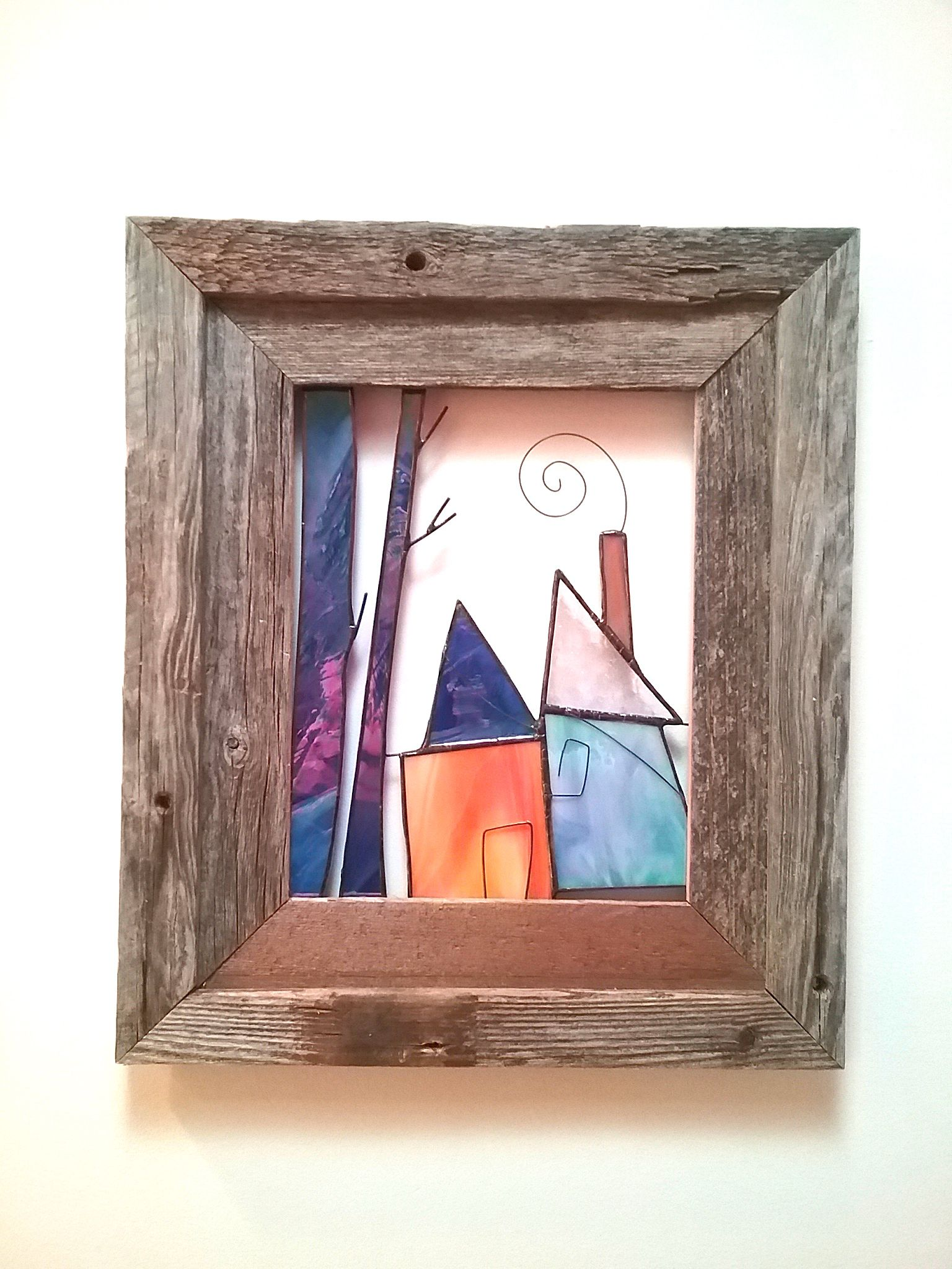 """Home Sweet Home"" open air stained glass wall hanging framed in rustic barnwood frame."