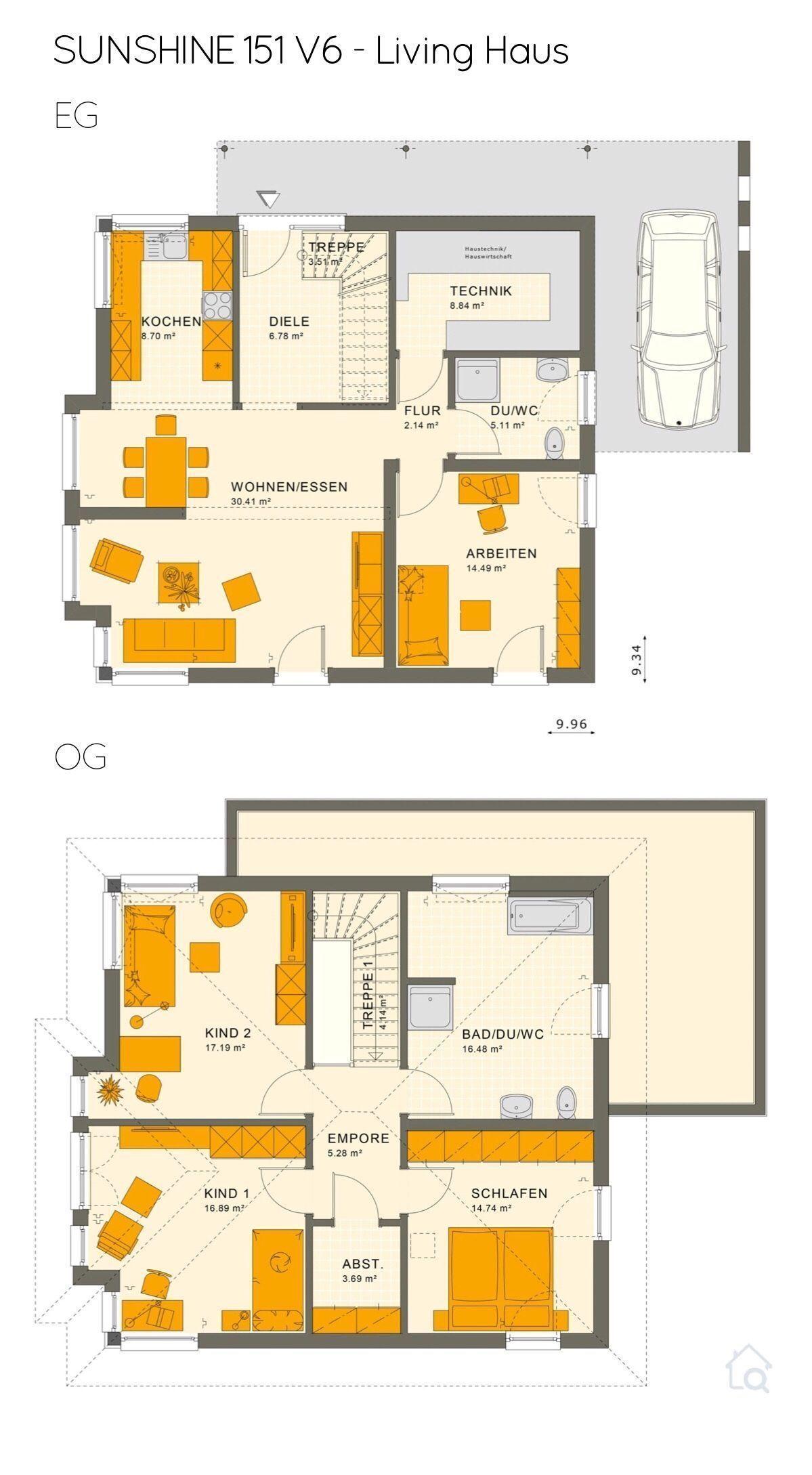 #balkon kamar atas malam Stadtvilla SUNSHINE 151 V6 – Living Haus | HausbauDirek… – Anbau