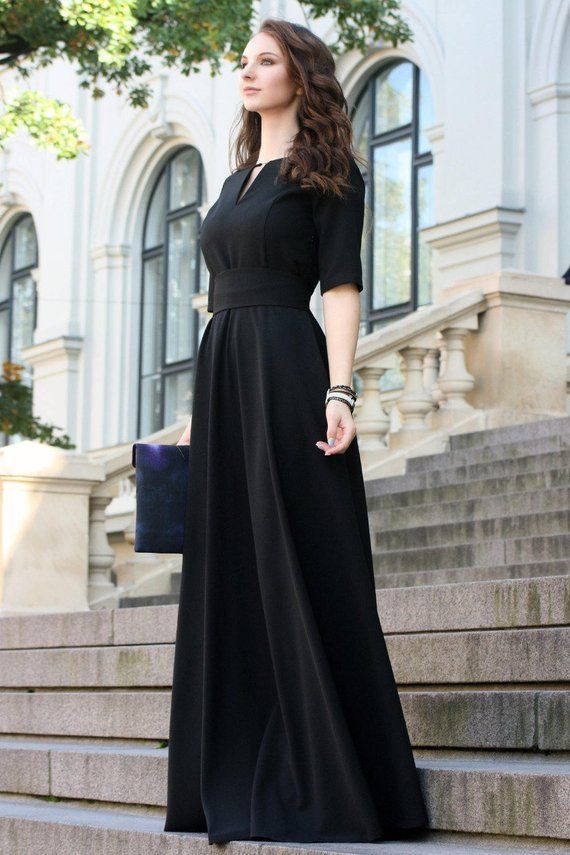 Black Party Dress Black Dress Women Maxi Dress Floor Length Dress