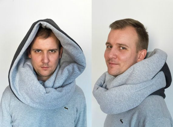 Men urban clothing, cowl with hood, winter cotton scarf, large hood, infinity scarf, wizard wicher, minimalist futuristic clothing
