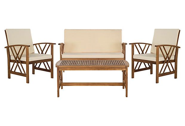 Fontana 4-Pc Lounge Set, Beige/Natural | Outdoor furniture ... on Fontana 4 Pc Outdoor Set  id=91399