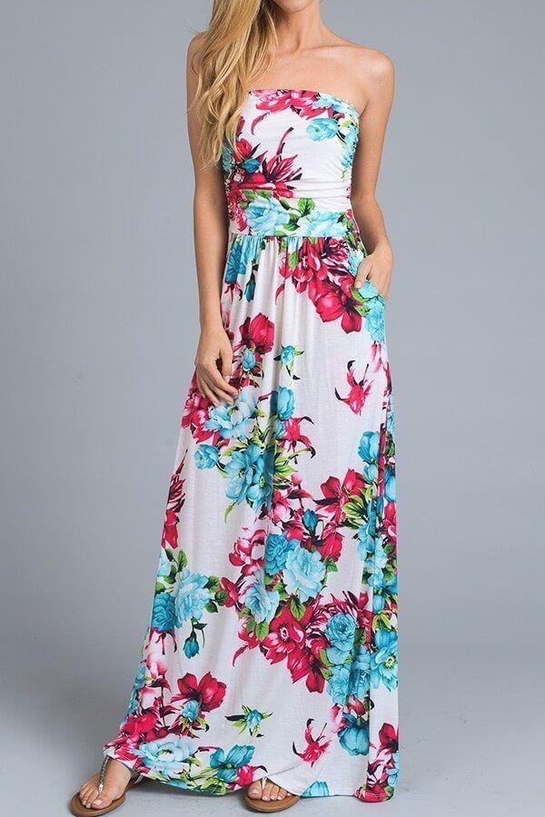 Island Life Ivory Tropical Floral Print Strapless Maxi Dress   Dress ...