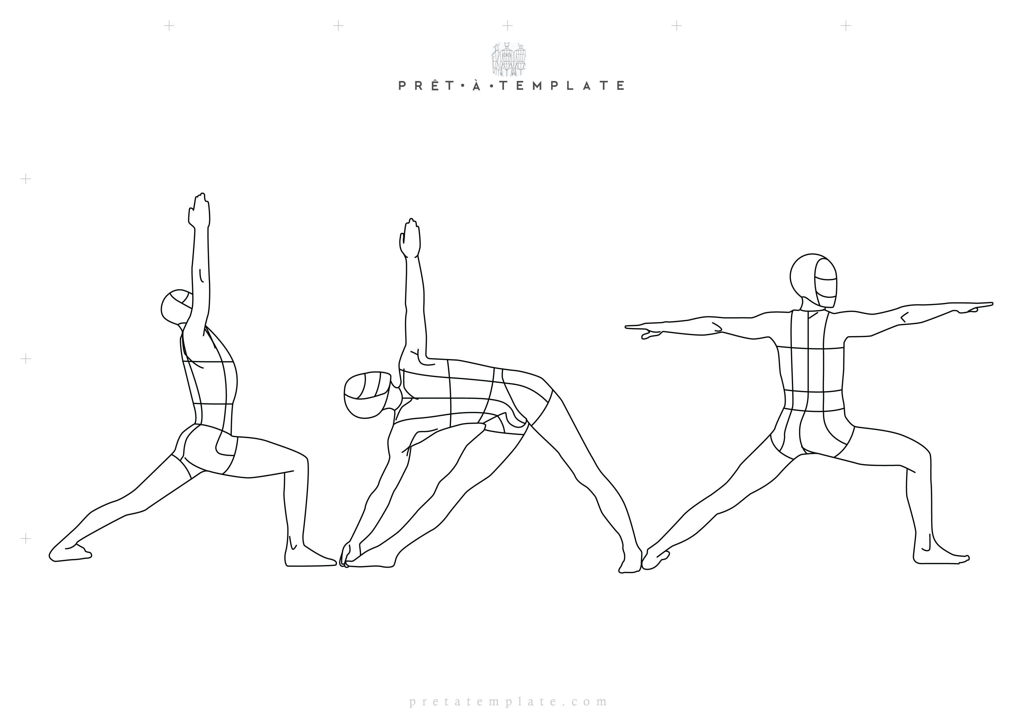 YOGA MAN body figure fashion template for yoga clothing (D