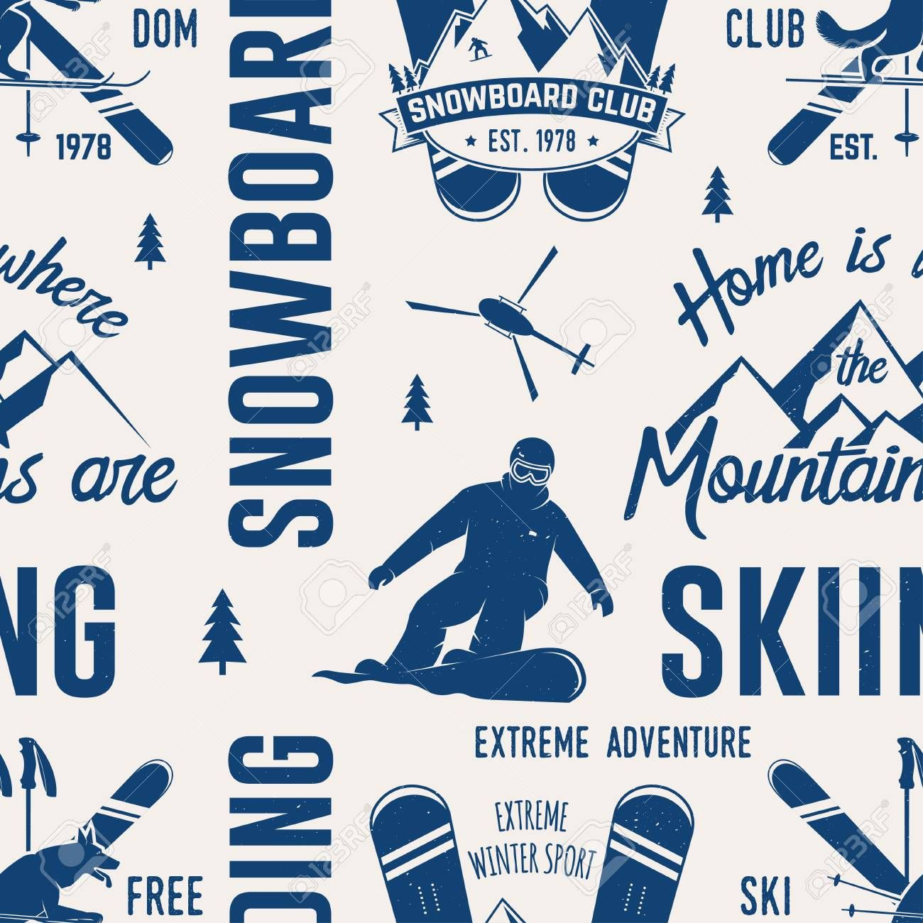 Ski And Snowboard Club Seamless Pattern Vector Illustration Concept For Shirt Print S Vintage Typography Design Social Media Design Graphics Winter Extreme