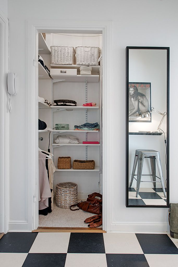 apartments cool small apartment walk in closet design with rattan storage mirror checkerboard flooing ideas studio apartment interior design home living - Small Walk In Closet Ideas