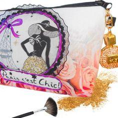 Trousse maquillage élégante paris avec roses, bouteille de parfum en bijou