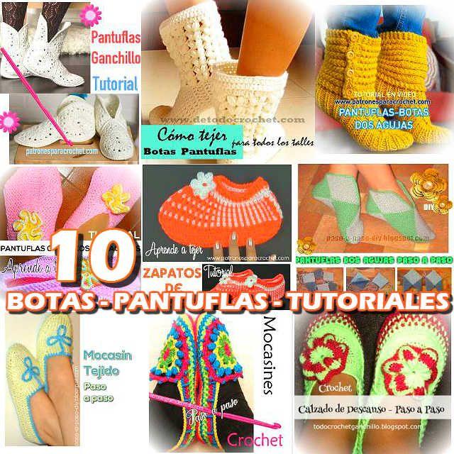 10 patrones de botas y pantuflas para tejer con ganchillo y dos ...
