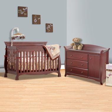 Storkcraft 2 Piece Nursery Set Venetian 4 In 1 Convertible Crib And Aspen Combo Dresser Changer Cherry Click To Enlarge