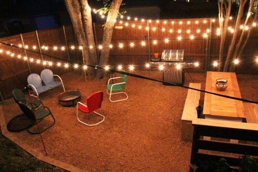 Outdoor string lights over patio luces pinterest for Luces patio exterior