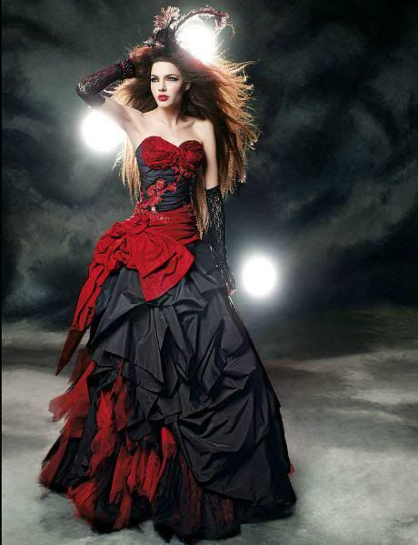 c2d7aacdef red black wedding dress. I would wear it but probably give my mom a heart  attack
