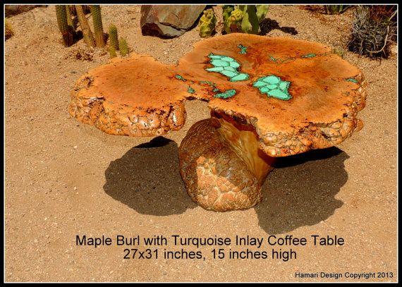 Maple Burl Slab Coffee Table Turquoise Stone Inlay By Joni Hamari
