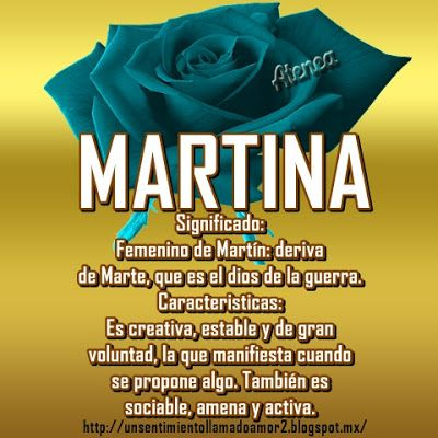 Significado De Los Nombres Significados De Los Nombres Nombres Nombre Martina
