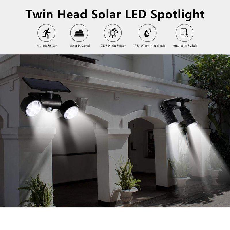Luz Solar Exterior De 14 30 Led Con Sensor De Movimiento Pir Lampara De Pared De Doble Cabezal Con In 2020 Outdoor Solar Lights Fence Lighting Outdoor Solar