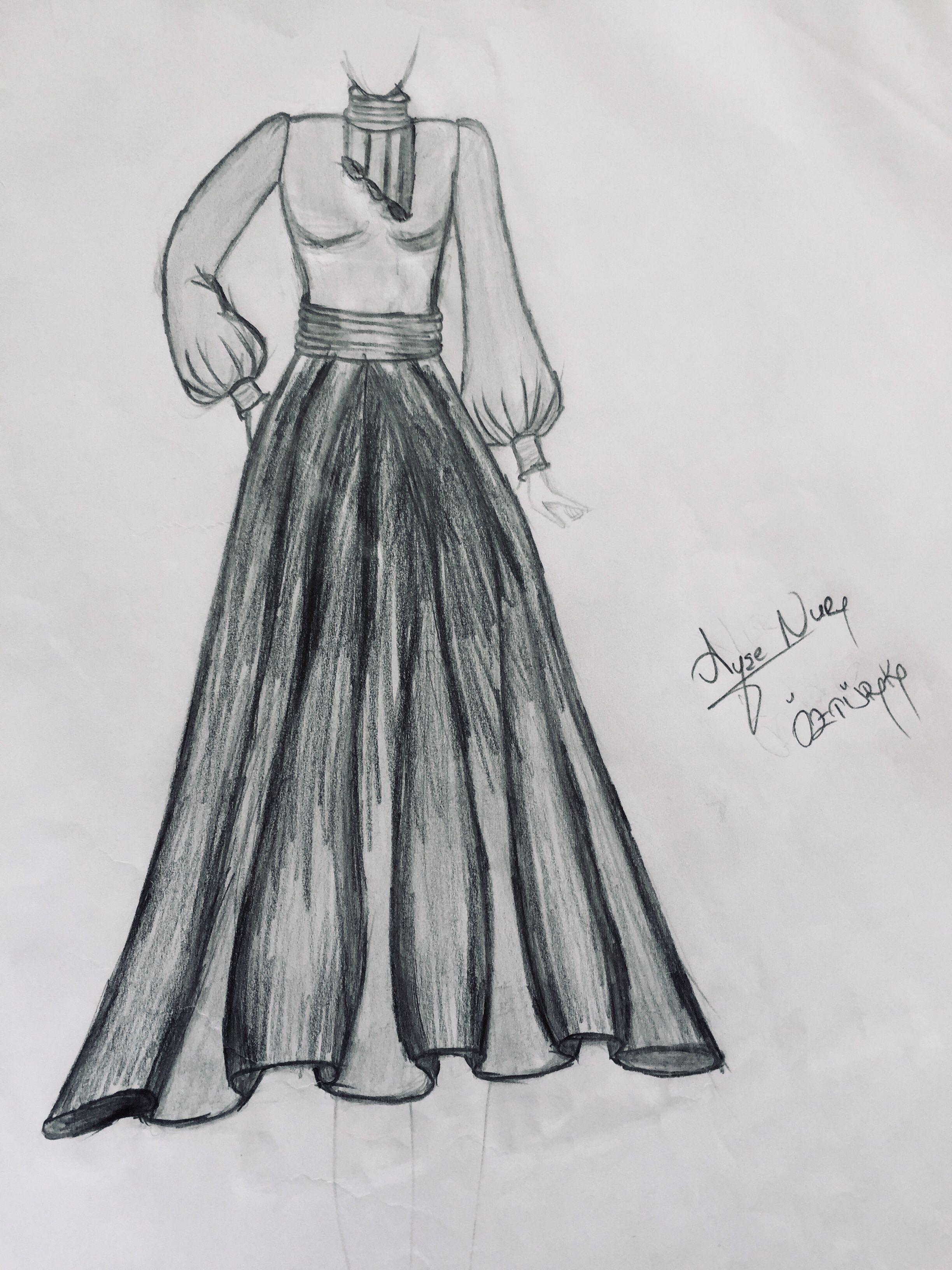 cc2fc077ff705 Karakalem tesettür elbise model çizimi | Karakalem in 2019 | Çizim ...