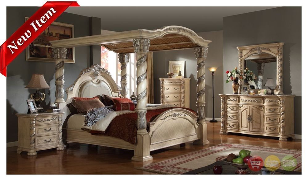 Castillo De Cullera Antique White King Size 4 Piece Canopy Bedroom Set  #RoyalPalace #Traditional