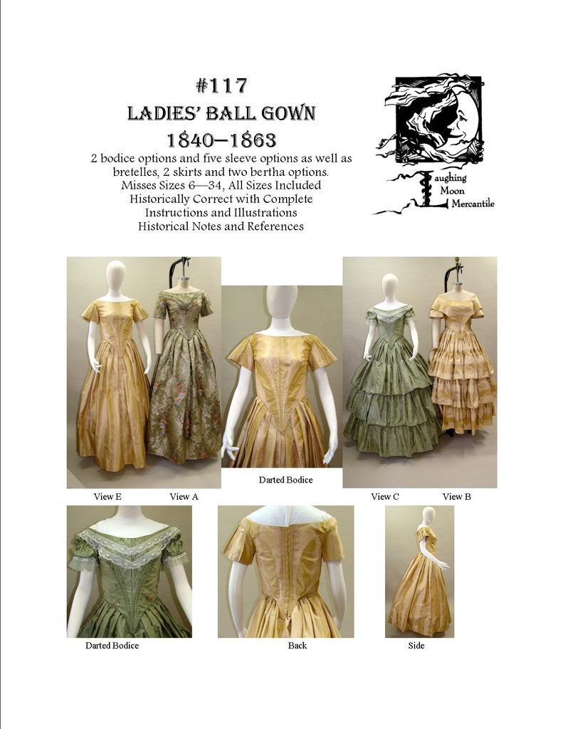 Ladies' Ball Gown 1840-1863 pattern