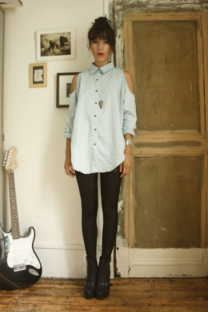 Revamp a shirt from a thrift store... Love the effortless look here.