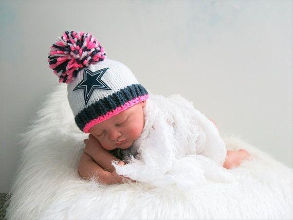 Dallas Cowboys Baby Girl Beanie Hat in Stark White with Dark Denim ... 4601c9ac2