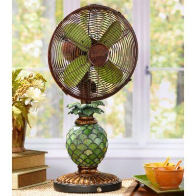 Deco Breeze Mosaic Glass Pineapple Table Fan Bed Bath Beyond Deco Breeze Handcrafted Table Table Fan