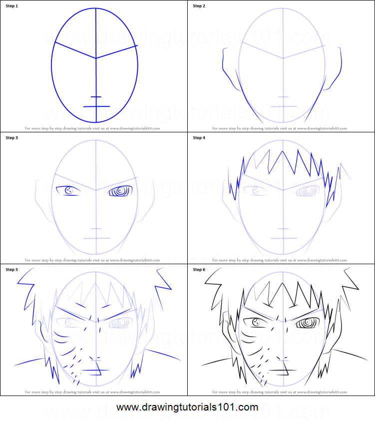 How To Draw Obito Uchiha Face From Naruto Printable Drawing Sheet By Drawingtutorials101 Com Naruto Drawings Easy Naruto Drawings Drawing Sheet