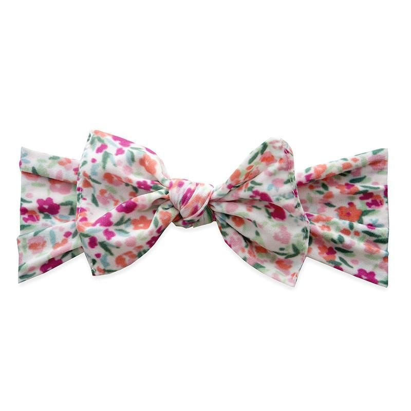 Printed Knot Scatter Floral White Baby Bling Bows Hair Accessories Knot Headband