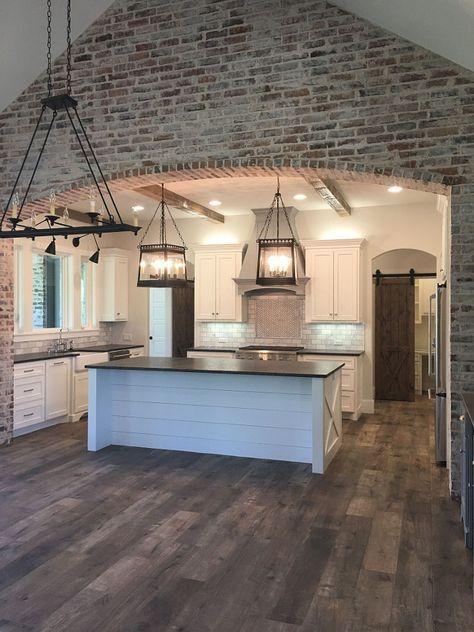 farmhouse kitchen with new england fieldstone accent wall 11 in 2020 brick interior kitchen on farmhouse kitchen tile floor id=94705