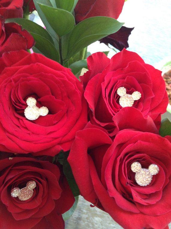 6 Silver PINS Disney Wedding Mickey Minnie Mouse Ears Flower Bride BOUQUET