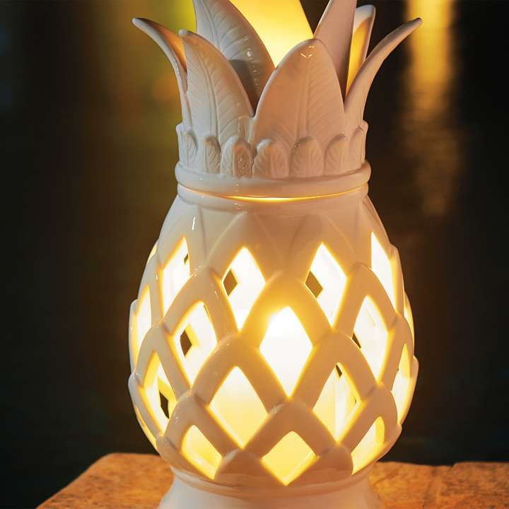 With An Exquisite Take On The Communal Symbol Of Friendship And  Hospitality, This Handmade Ceramic Pineapple Lantern Adds Artistry To  Outdoor Accent ...
