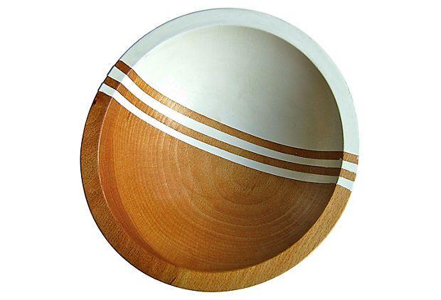 "Nicole Porter Design, Graphic Wood 7"" Bowl, White Bean"